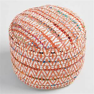 Multi-Color Round Chindi Pouf World Market