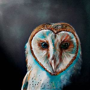 Labyrinth Acrylic Barn Owl Painting with Spray Painted