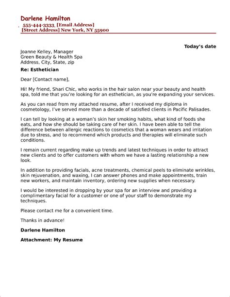 Cover Letter by Esthetician Cover Letter Sle