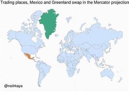 Greenland Countries True Mexico Maps Mercator Projection