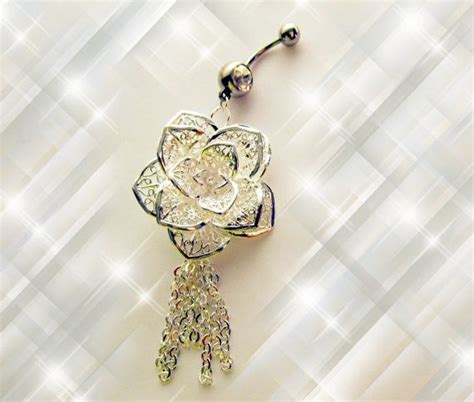 sale belly ring  sterling silver large shimmery rose