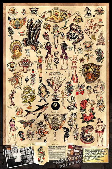 sailor jerry tattoo flash poster print