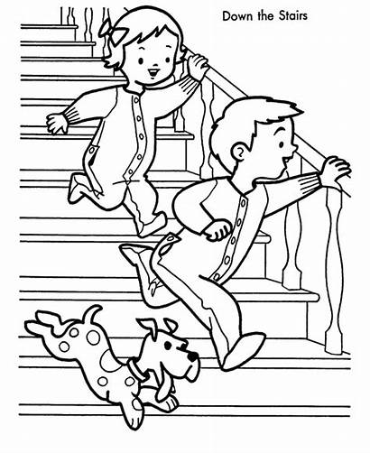 Coloring Morning Downstairs Stairs Down Running Children