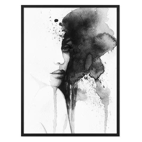 Schwarz Weiß Kontrast Bilder by Design Poster Mit Bilderrahmen Schwarz Aquarell Frau