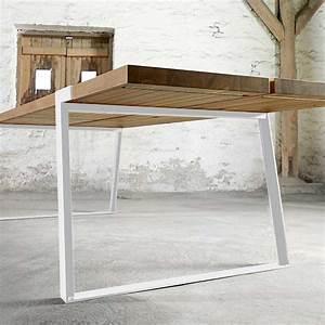 Tisch Eiche Weiß : esstisch eiche tischplatte wei e tischbeine tisch massiv eiche metall wei ma e 240 x 100 cm ~ Indierocktalk.com Haus und Dekorationen
