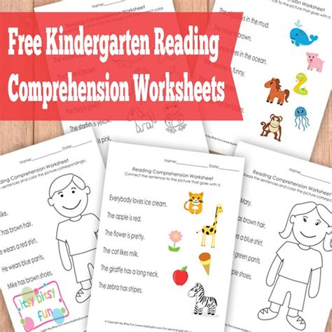 Free Kindergarten Reading Comprehension Worksheets  Free Homeschool Deals