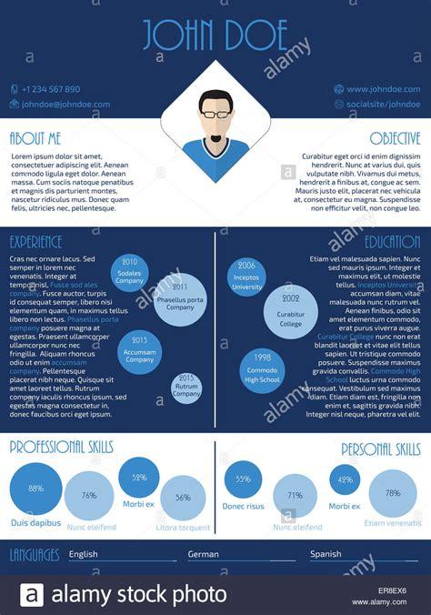 modern curriculum vitae resume cv design in blue and white