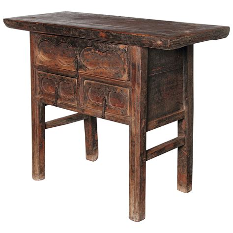 small brown table l antique elm brown small 3 drawer side table at 1stdibs
