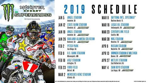 monster energy supercross schedule supercross