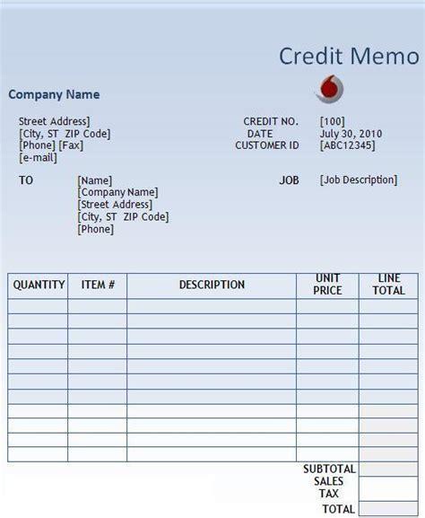 credit memo template  word templates
