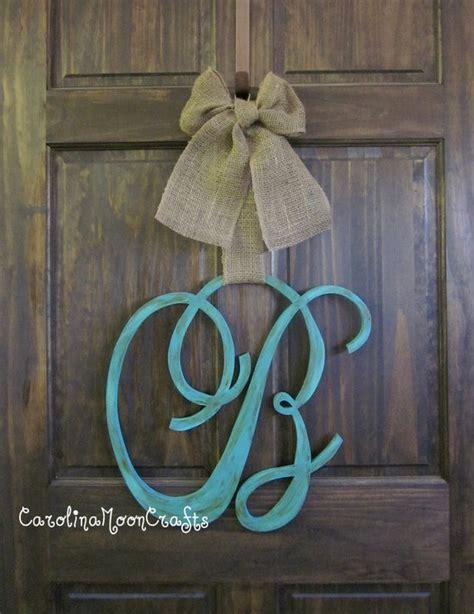 items similar  single letter monogram wooden door decor  inches script font  etsy