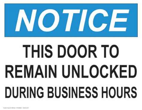 notice  door  remain unlocked