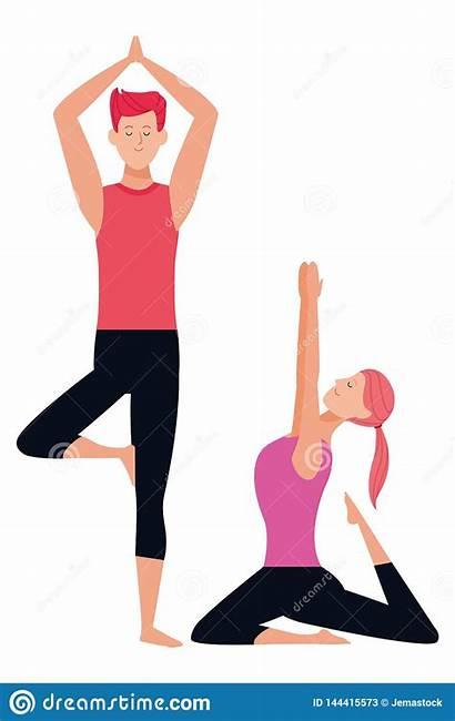 Couple Yoga Poses Cartoon Ponytail Character