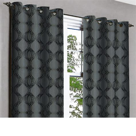 black grey swirls grommet blackout lined curtain in textured