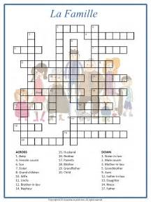 Crossword Puzzle French Family