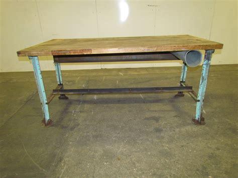 butcher block workbench vintage industrial butcher block workbench table green