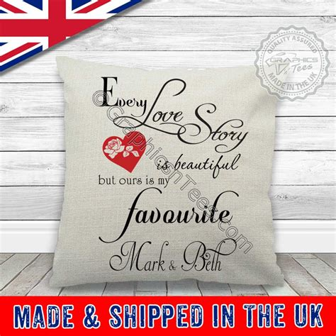 Every Love Story is Beautiful Personalised Cushion Wedding