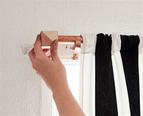 Copper Curtain Rod With Geometric Cube Finials Kids Orange Curtains Black And White Strip Mustard Yellow Curtain Princess Tiana Small Tie Back Hooks Cool Fabric Shower Seagull Clear Plastic