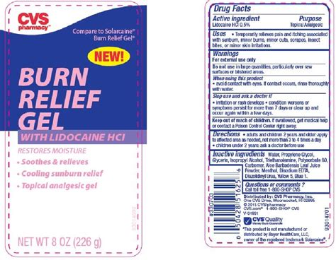 Cvs Pharmacy Apply by Cvs Burn Relief W Lido 8oz Cvs Pharmacy Fda Package Insert