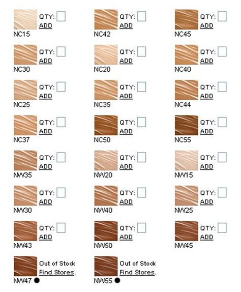 foundation colors a guide to mac foundation colors c nc n nw w