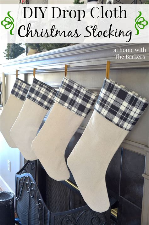 diy drop cloth christmas stocking  home   barkers