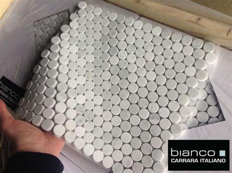 italian marble pennyrounds perfect  bathroom floors