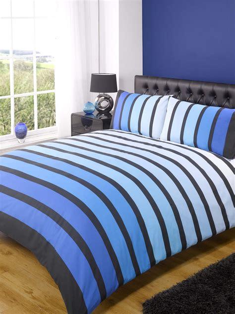 Blue Duvet by Soho Modern Striped Duvet Cover Quilt Set Blue Black Ebay