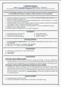 resume format for freshers mechanical engineers mechanical engineer fresher resume format
