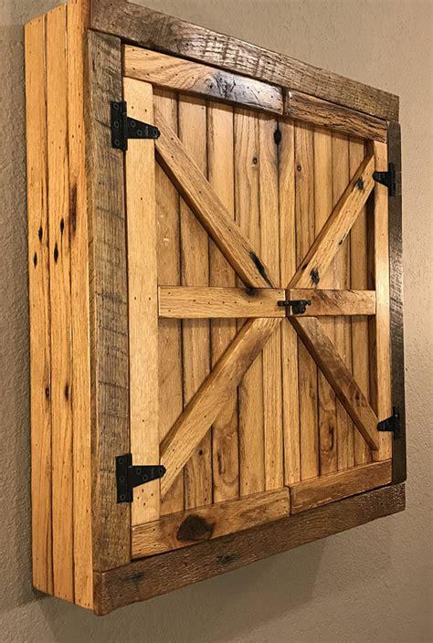 Natural Rustic Dartboard Cabinet Reclaimed Barn Wood Home