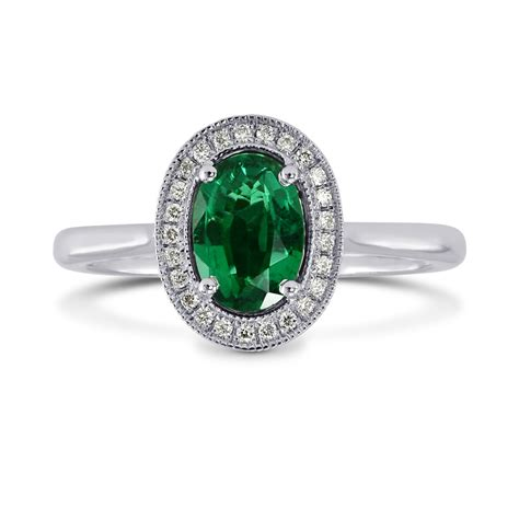 oval green emerald diamond engagement ring sku