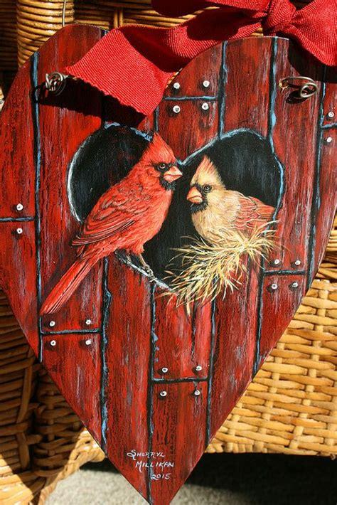 cardinals  red barn birdhouse painting  sherrylpaintz