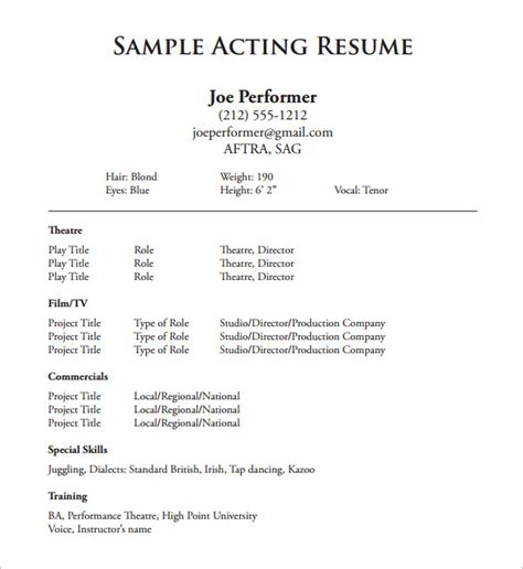 Theater Resume Template by Acting Resume Template 8 Free Word Excel Pdf Format Free Premium Templates