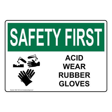 osha safety  acid wear rubber gloves sign ose