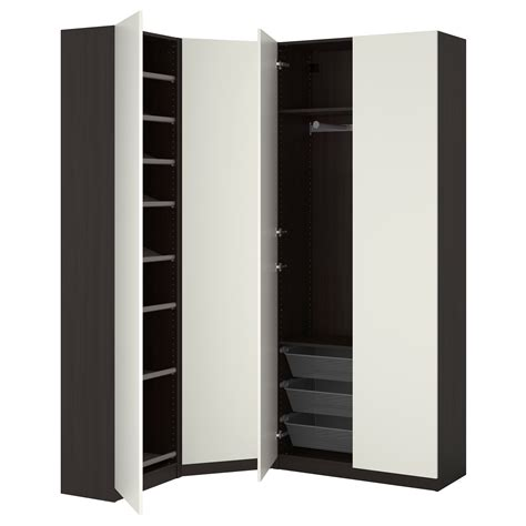 armoire angle chambre pax wardrobe black brown ballstad white 123 173x38x236 cm