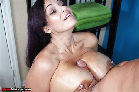 buxom massage worker stroking hard cock for happy ending cumshot on tits