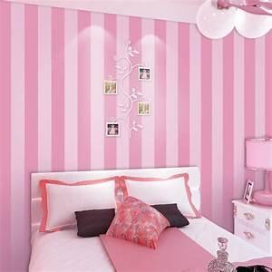 Non woven Striped Wallpaper Roll Pink Princess Children ...