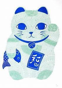 Cat Art Maneki Neko Art Print Good Luck Cat Kawaii
