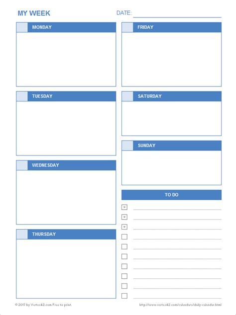 Daily Calendar  Free Printable Daily Calendars For Excel