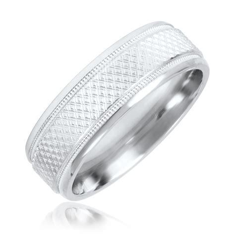 zig zag mens wedding band  white gold  trio rings