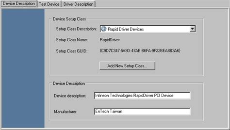 Rapiddriver Online Help  Device Description