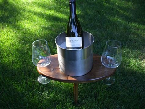 Portable Outdoor White Wine Table And Glass Holder With