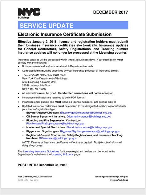 insurance update  contractors department  buildings