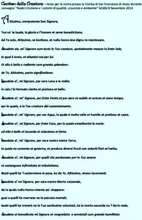 cantico delle creature testo italiano per bambini radici cristiane e sqsa convegno assisi 8 nov 2014