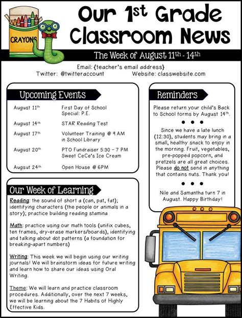Free Classroom Newsletter Templates by Editable Newsletter Templates Newsletter Templates