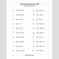 """Factoring Quadratic Expressions With """"a"""" Coefficients Up To 81 (a"""