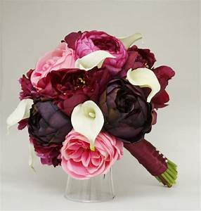 Purple Red And Pink Bridal Bouquet - Calla Lilly, Peony ...