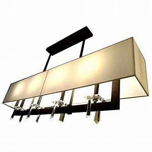 Rectangle coffee metal and fabric crystal chandelier