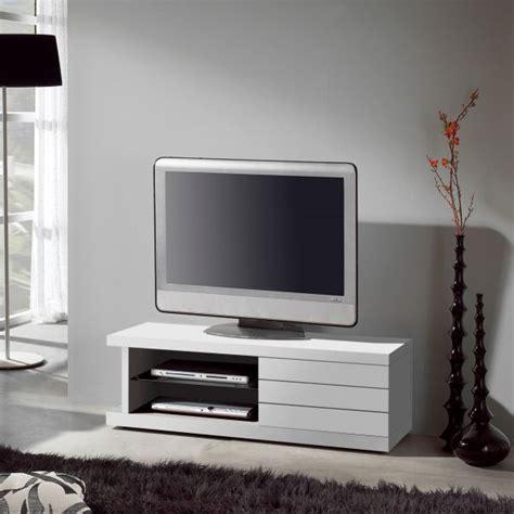 meuble tv blanc laqu 233 100 cm table pour television ecran