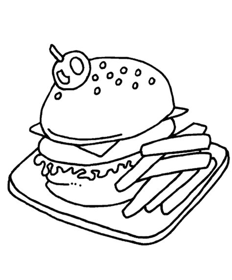 dessin cuisine hamburger frite dessin