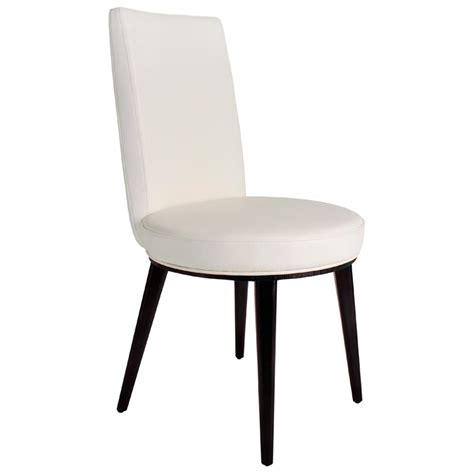 artesia dining chair white bonded leather mocha wood